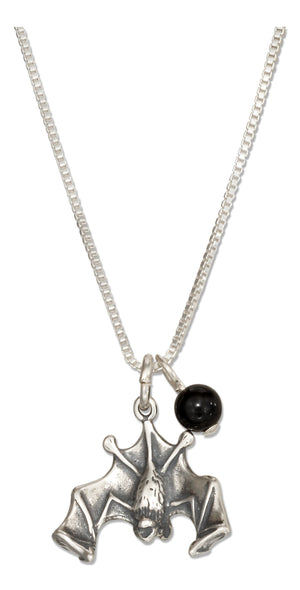 Sterling Silver 18 inch Halloween Flying Bat Pendant Necklace with Black Onyx Bead