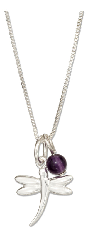Sterling Silver 18 inch Dragonfly Pendant Necklace with Amethyst Bead