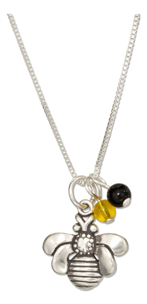 Sterling Silver 18 inch Bumble Bee Pendant Necklace with Black and Yellow Beads