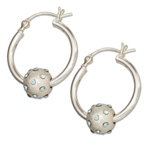 Sterling Silver Hoop Earrings with Blue Cubic Zirconia Stardust Beads