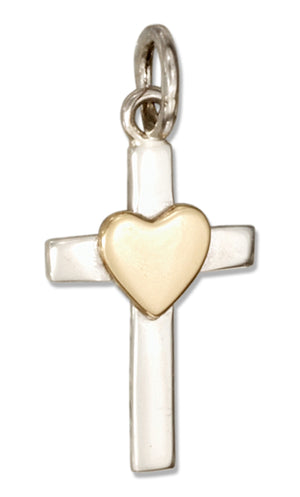 Sterling Silver Cross Charm with Bronze Heart