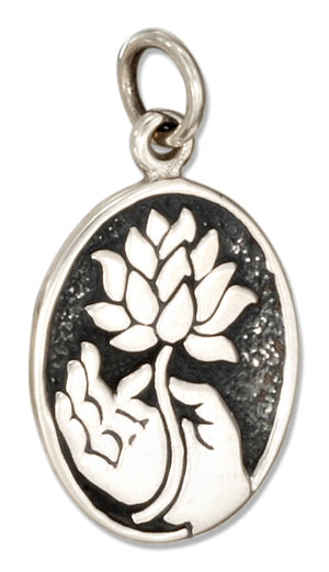 Sterling Silver Hand Of Buddha Holding Lotus Charm