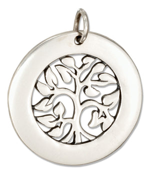 Sterling Silver Round Tree Of Life Charm