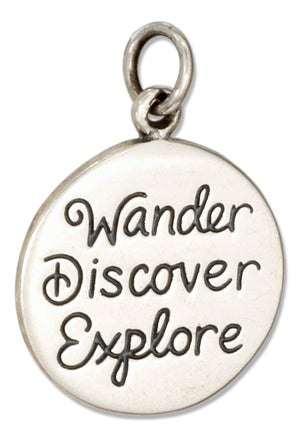 "Sterling Silver Round ""Wander Discover Explore"" Message Charm"