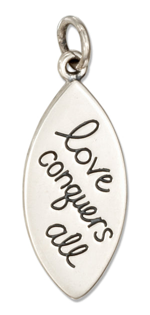 "Sterling Silver ""Love Conquers All"" Message Charm"