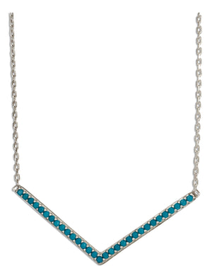 "Sterling Silver 17 inch to 18.5 inch Adjustable Sky Blue Micro Pave Cubic Zirconia Chevron ""V"" Necklace"