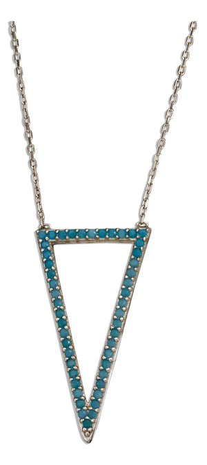 Sterling Silver 17 inch to 18.5 inch Adjustable Sky Blue Micro Pave Cubic Zirconia Triangle Necklace