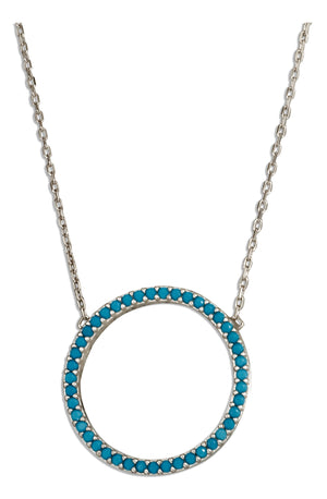 Sterling Silver 17 inch to 18.5 inch Adjustable Sky Blue Micro Pave Cubic Zirconia Open Circle Necklace