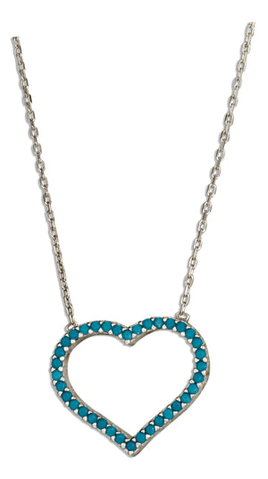 Sterling Silver 17 inch to 18.5 inch Adjustable Sky Blue Micro Pave Cubic Zirconia Open Heart Necklace