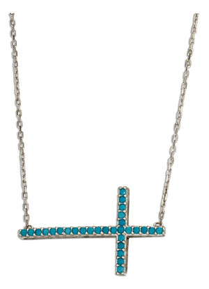 Sterling Silver 17 inch to 18.5 inch Adjustable Sky Blue Micro Pave Cubic Zirconia Cross Necklace