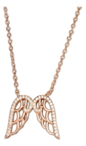 Sterling Silver 16 inch to 17 inch Adjustable Rose Gold Tone Angel Wings Necklace with Cubic Zirconias