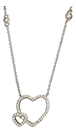 Sterling Silver 16.5 inch to 18.5 inch Adjustable Micro Pave Cubic Zirconia Double Open Hearts Necklace