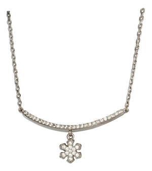 Sterling Silver 17 inch to 18 inch Adjustable Micro Pave Cubic Zirconia Curved Bar Necklace with Snowflake