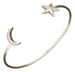 Sterling Silver Micro Pave Cubic Zirconia Moon and Star Cuff Bracelet