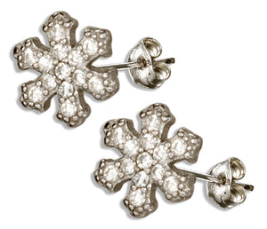 Sterling Silver Mini Micro Pave Cubic Zirconia Snowflake Earrings