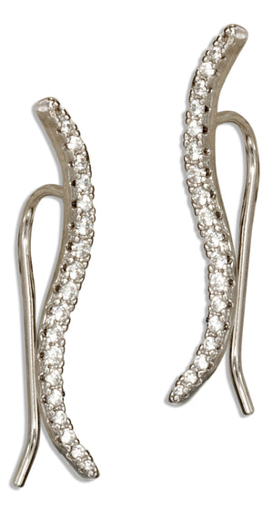 Sterling Silver Micro Pave Cubic Zirconia Wave Ear Climber Pin Earrings