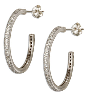 Sterling Silver Continuous Micro Pave Cubic Zirconia Post Hoop Earrings