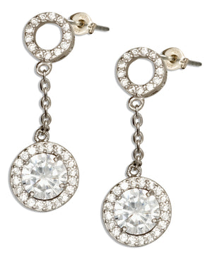 Sterling Silver Open Pave Cubic Zirconia Circle Post Drop Earrings with Round Cubic Zirconia Dangle