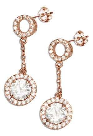 Sterling Silver Rose Gold Tone Open Pave Cubic Zirconia Circle Post Drop Earrings with Round Cubic Zirconia