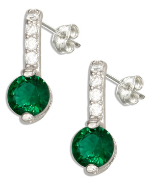 Sterling Silver Clear and Green Cubic Zirconia Earrings