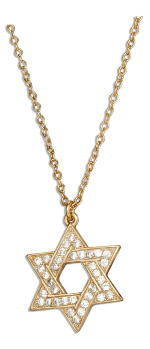 Sterling Silver 16 inch to 18 inch Adj Gold Tone Pave Cubic Zirconia Jewish Star Of David Necklace