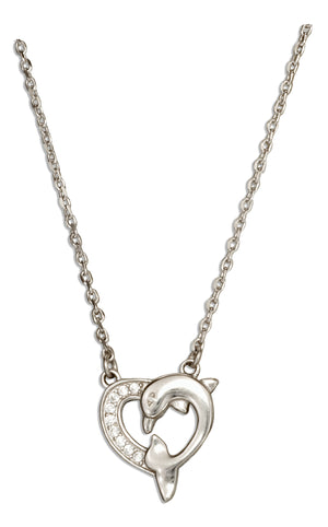 Sterling Silver 16 inch to 18 inch Adjustable Cubic Zirconia Heart Dolphin Necklace