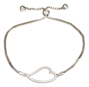Sterling Silver 6 inch to 9 inch Adjustable Micro Pave Cubic Zirconia Curved Open Heart Bolo Bracelet