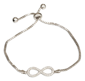 Sterling Silver 6 inch to 9 inch Adjustable Micro Pave Cubic Zirconia Infinity Symbol Bracelet