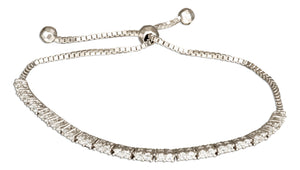Sterling Silver 6 inch to 10 inch Adjustable Cubic Zirconia Tennis Bracelet
