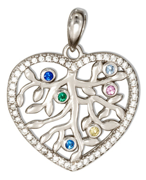 Sterling Silver Heart Pendant with Tree and Cubic Zirconias