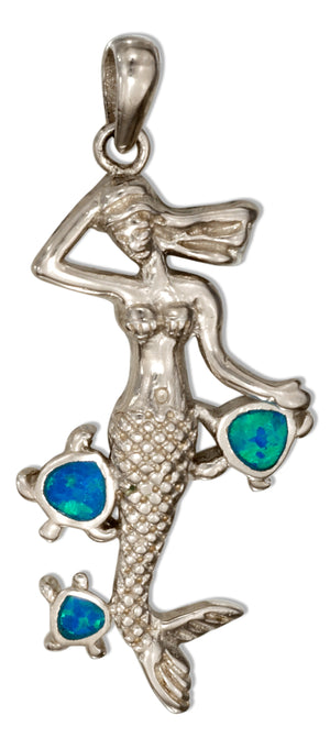 Sterling Silver Mermaid Pendant with Synthetic Blue Opal Turtles