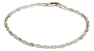 Sterling Silver 7 inch Italian Twisted Snake and Bead Chain Bracelet
