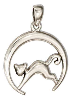 Sterling Silver Cat in Crescent Moon Pendant