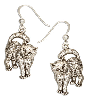 Sterling Silver Cat Earrings with Moveable Heads