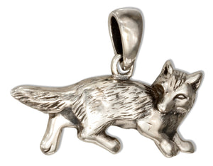 Sterling Silver Crouching Fox Pendant