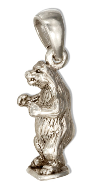 Sterling Silver 3D Side View Standing Grizzly Bear Pendant