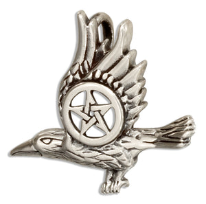 Sterling Silver Flying Raven Pendant with Pentagram