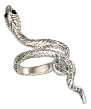 Sterling Silver Snake Ring with Pentagram