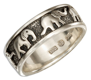 Sterling Silver Elephants Band Ring