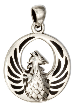 Sterling Silver Round Phoenix Pendant with Simulated Black Onyx Inlay
