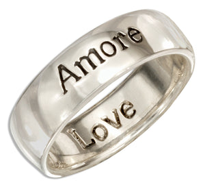 "Sterling Silver ""Amore"" Band Ring with ""Love"" Inside"