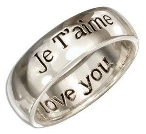 "Sterling Silver ""Je Taime"" Band Ring with ""I Love You"" Inside"
