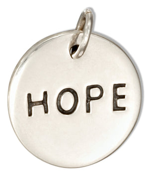 "Sterling Silver Round ""Hope"" Message Charm"