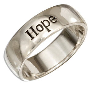 "Sterling Silver ""Hope"" Band Ring"