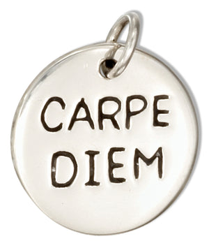 "Sterling Silver Round Two Sided ""Carpe Diem"" ""Seize the Day"" Message Charm"