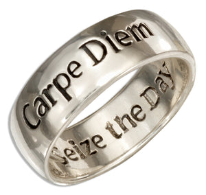 "Sterling Silver ""Carpe Diem"" Band Ring with ""Seize the Day"" Inside"