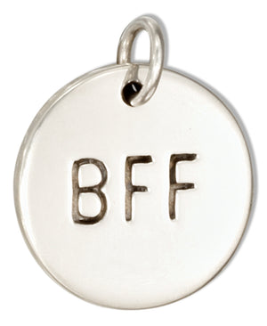 "Sterling Silver Round Best Friends Forever ""Bff"" Message Charm"