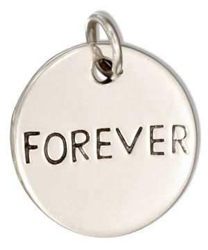 "Sterling Silver Round ""Forever"" Message Charm"