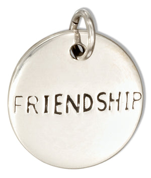 "Sterling Silver Round ""Friendship"" Message Charm"
