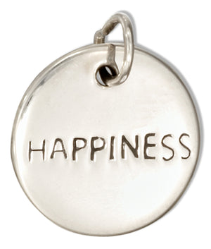 "Sterling Silver Round ""Happiness"" Message Charm"